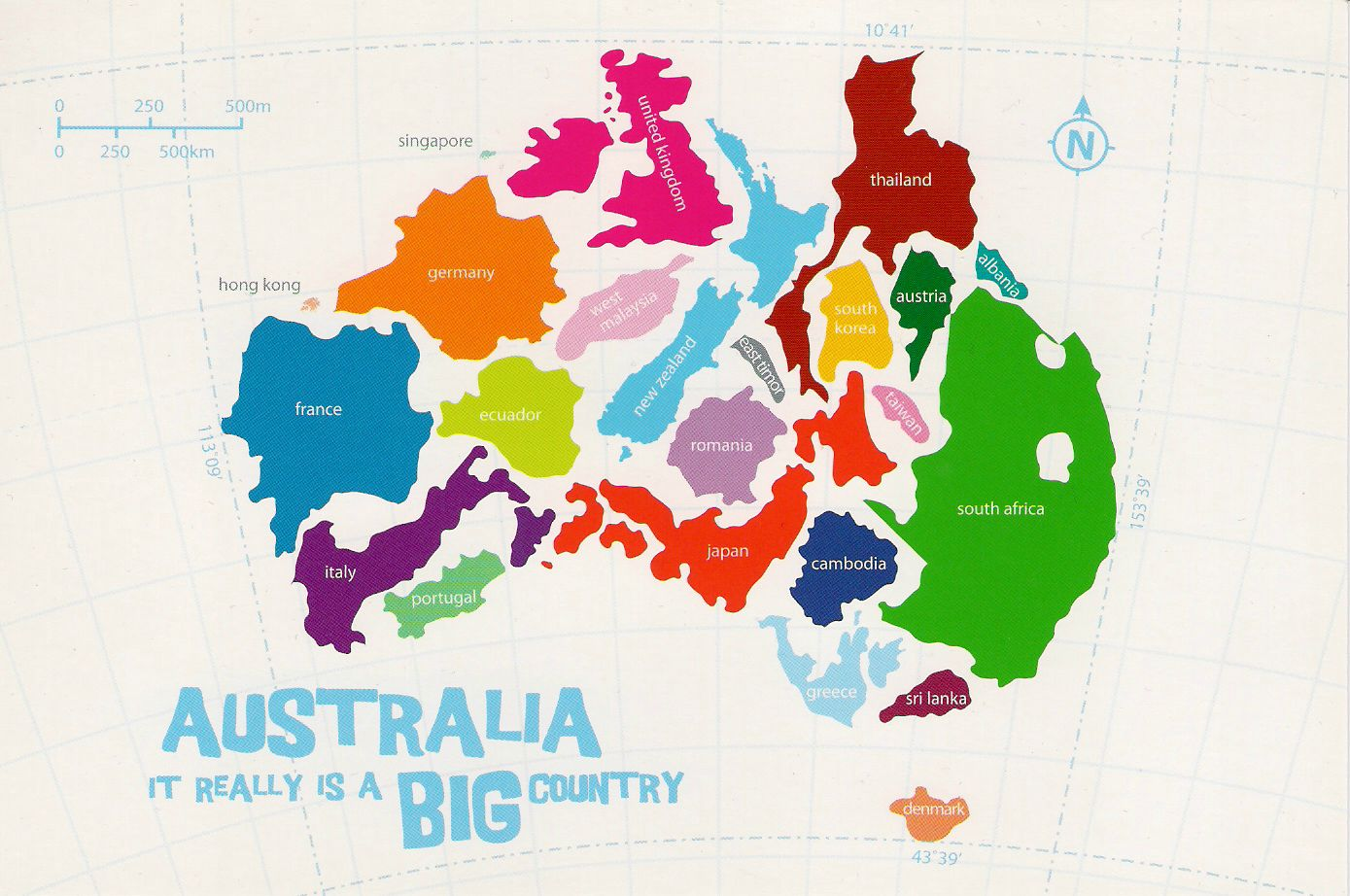Comparison of Australia's size with over 20 other countries