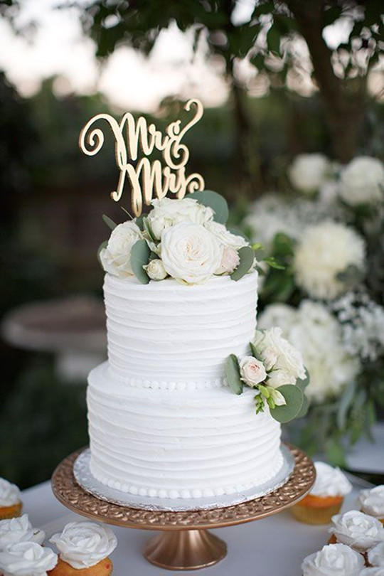 Two-Tier White rustic Wedding Cake