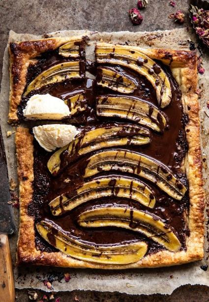warm chocolate banana galette.