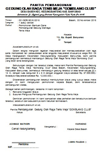Contoh Proposal Permohonan Bantuan Gedung Olah Raga Kumpulan