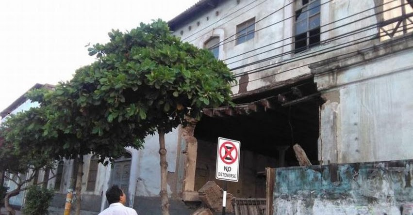 Colapsa pared de antiguo colegio Pedro Labarthe en Chiclayo debido a lluvias - GRE Lambayeque