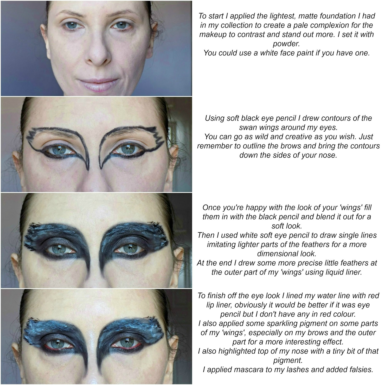 Easy Halloween makeup tutorial: black swan
