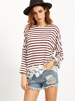 http://es.shein.com/Burgundy-Striped-Drop-Shoulder-Tee-With-Flower-Lace-Detail-p-310369-cat-1738.html?utm_source=mivida-enblog.blogspot.com.es&utm_medium=blogger&url_from=mivida-enblog&ref=www&rep=dir&ret=es