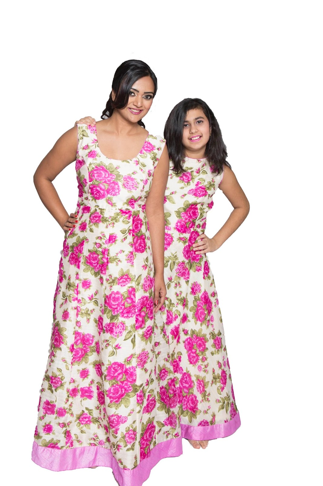 Floral Maxi Dress for Spring , floral dresses, similar dresses for sisters, two girls wearing same dresses, 2016 floral trend