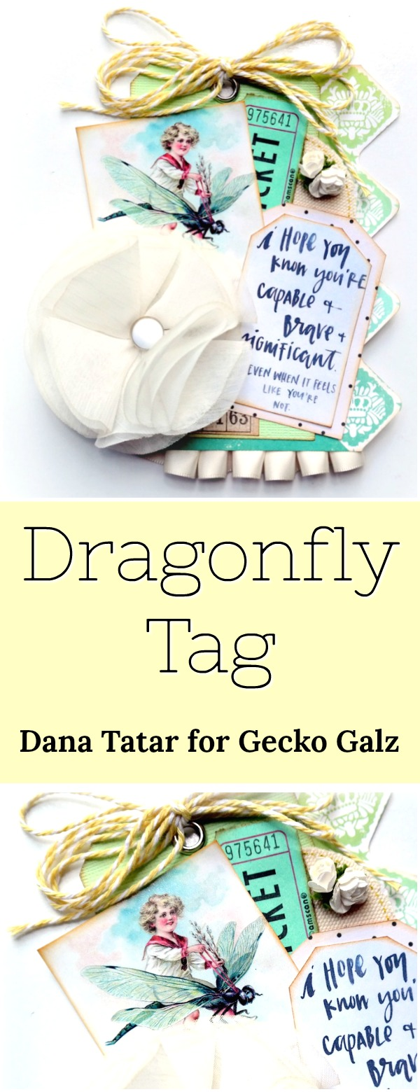 Mixed Media Dragonfly Tag by Dana Tatar for Gecko Galz