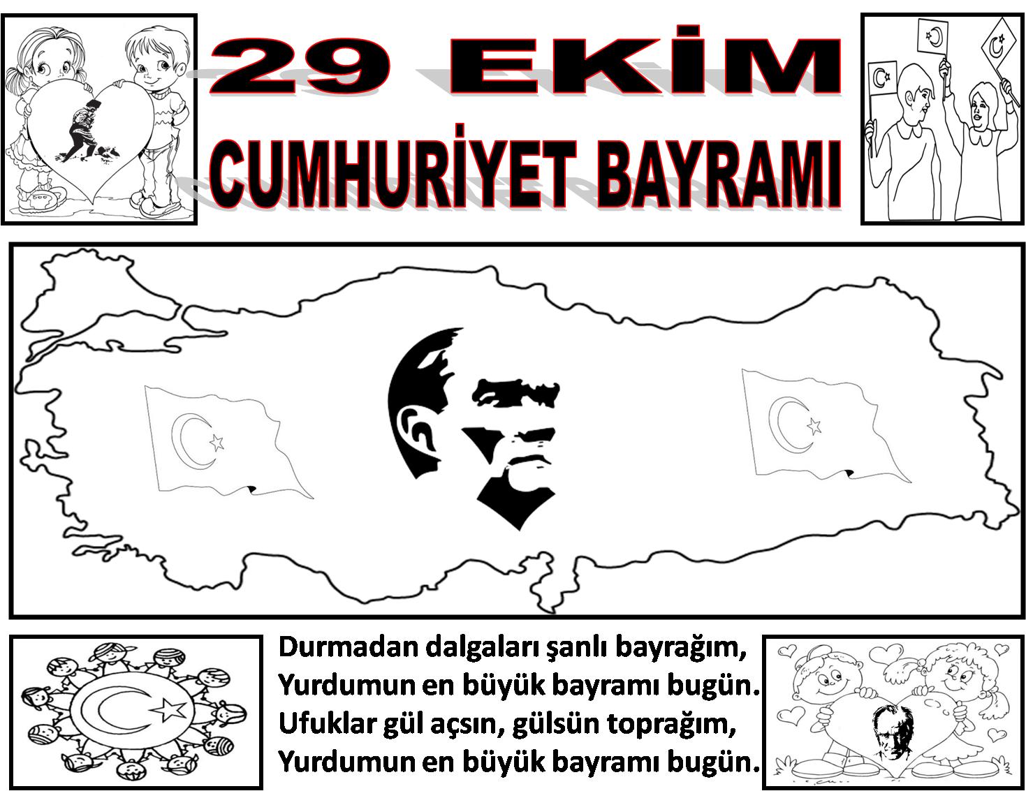 Cumhuriyet Bayramı Boyama Resimleri Eğitim Destek Sitesi