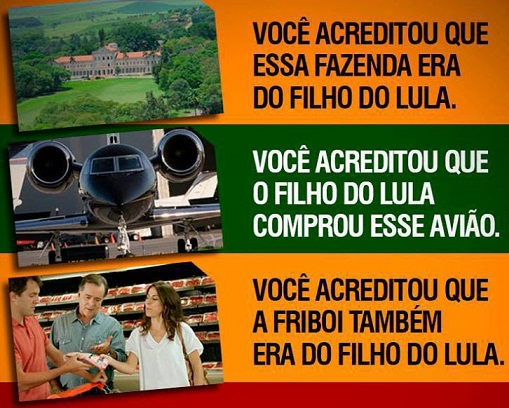 Resultado de imagem para as mentiras sobre o filho do Lula