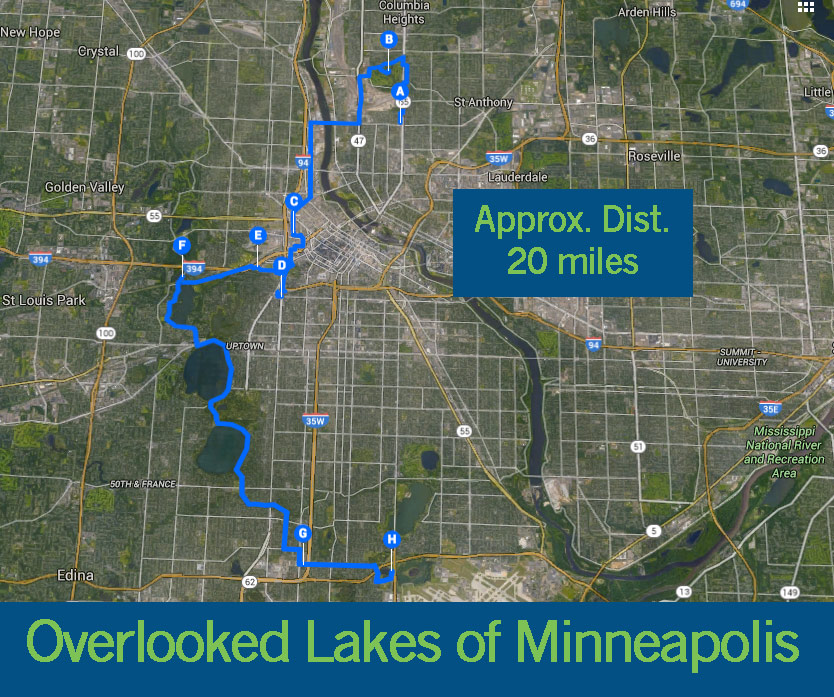 twin city sidewalks Overlooked Lakes of Minneapolis Bicycle Tour