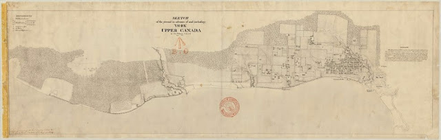 MAP: 1813 Williams Sketch of the Ground in advance of and including York, Upper Canada - Details