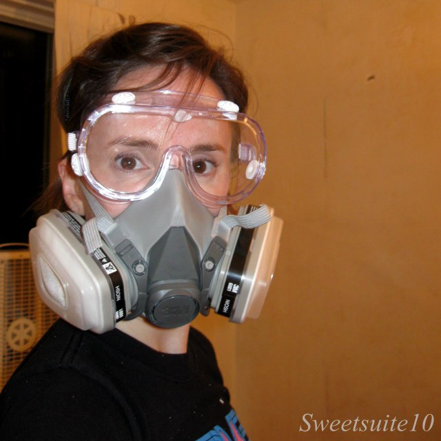 Stripping paint in respirator