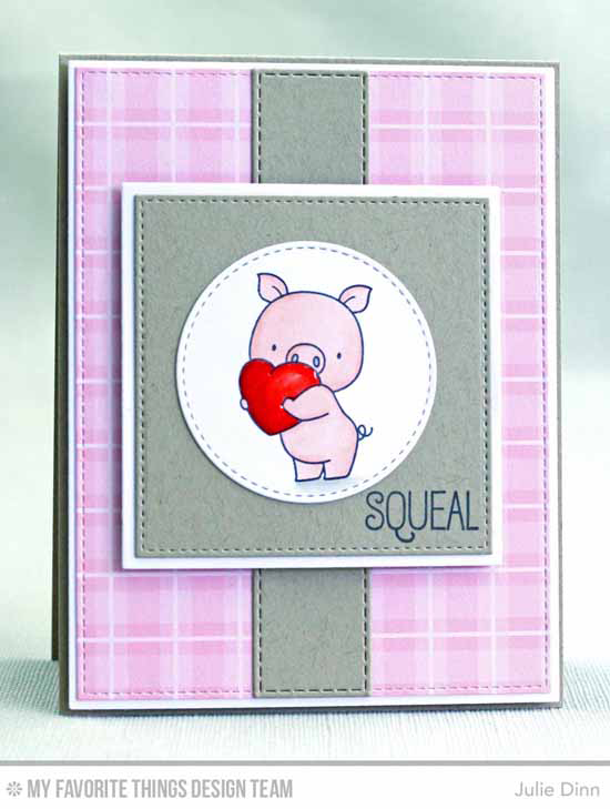 Handmade card from Julie Dinn featuring Birdie Brown Hog Heaven stamp set and DIe-namics, and Vertical Stitched Strips, Stitched Circle STAX, Stitched Square STAX, Square STAX Set 1, Blueprints 2, and Blueprints 13 Die-namics #mftstamps