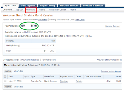 Transfer duit dari akaun Paypal ke akaun bank Malaysia