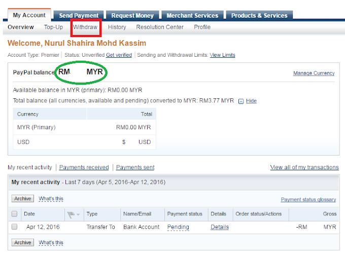 Cara Transfer Duit Dari Akaun Paypal ke Akaun Bank Malaysia