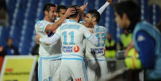 Marseille célébrant un but de Georges-Kévin N'Koudou