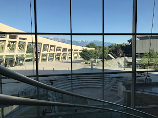 View of the Wasatch Mountains from Salt Lake City library.