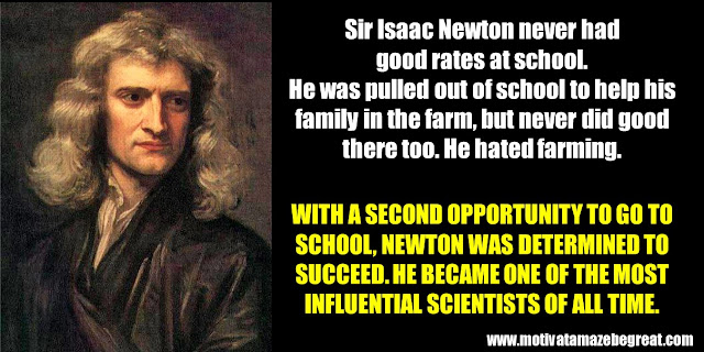Successful People Who Failed: Sir Isaac Newton, Success story, not good in school, farming, scientists