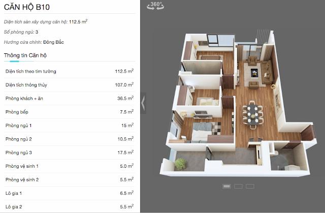 Thiết kế căn hộ B10 chung cư The Legend