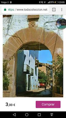 Postal, Beceite, Beseit, portal de Villanueva, Vilanova, Villanova, arco