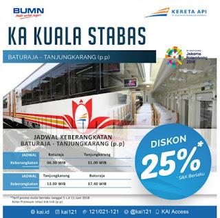 Jadwal Kereta Api Kuala Stabas Terbaru