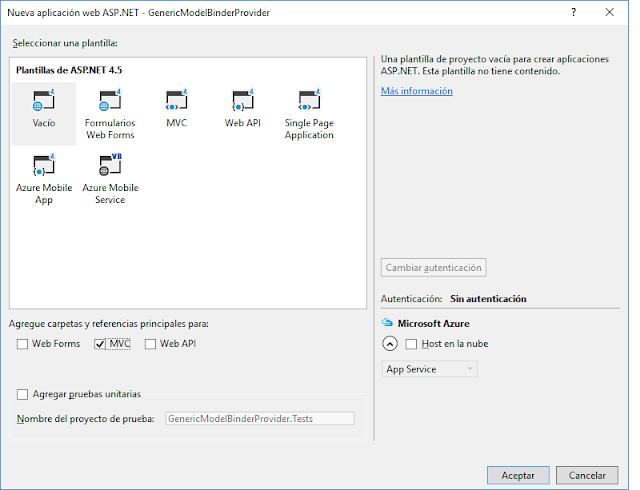 Nuevo proyecto ASP.NET MVC