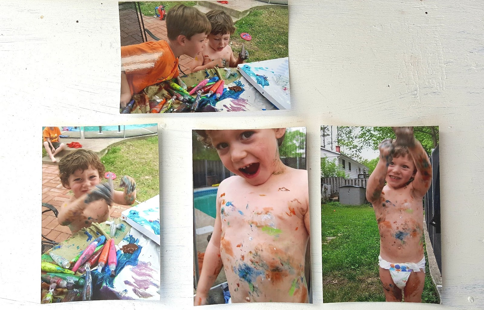 Prints of children playing with paint in backyard ©Diana Sherblom Photography