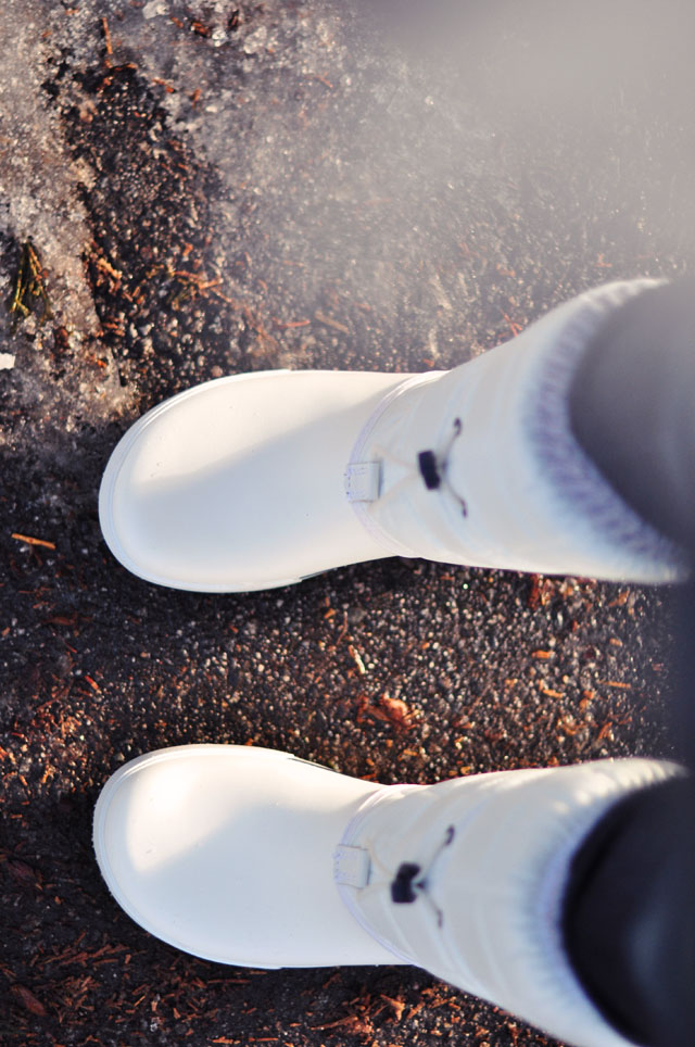 white snow boots, crocs