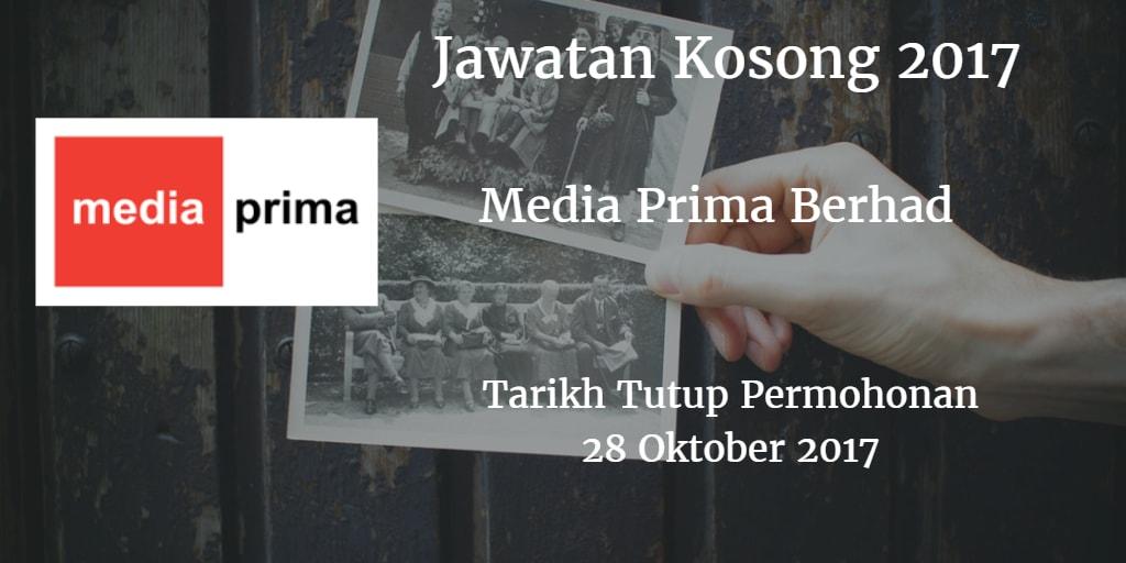 Jawatan Kosong Media Prima Berhad 28 Oktober 2017