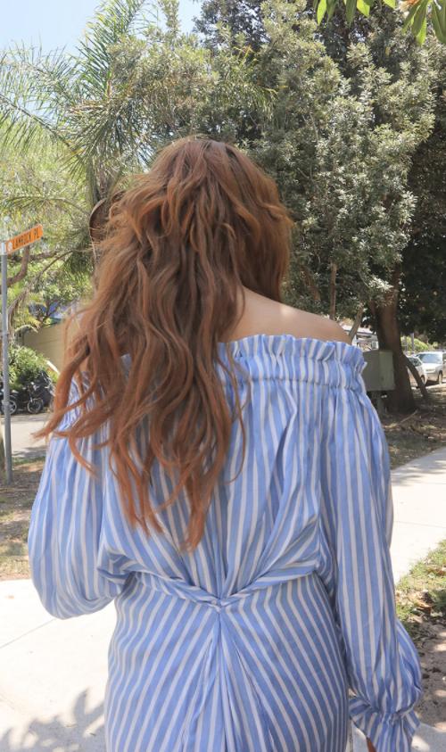 Stripe Print Off-Shoulder Dress