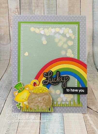 St Patricks Day card with Cat by Nakaba Rager | Newton's Pot of Gold stamp set by Newton's Nook Designs #newtonsnook