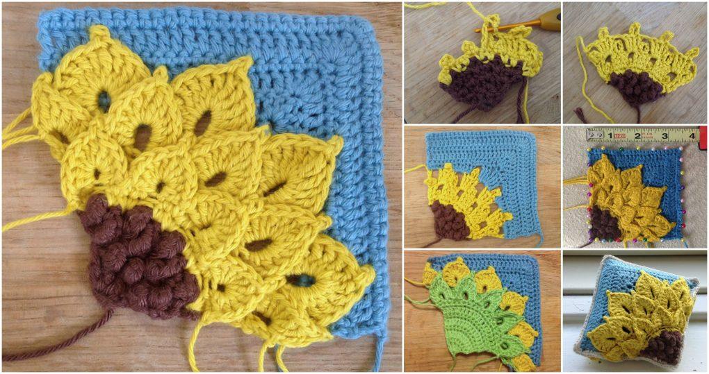 Square Crocus Sunflower - Step by Step