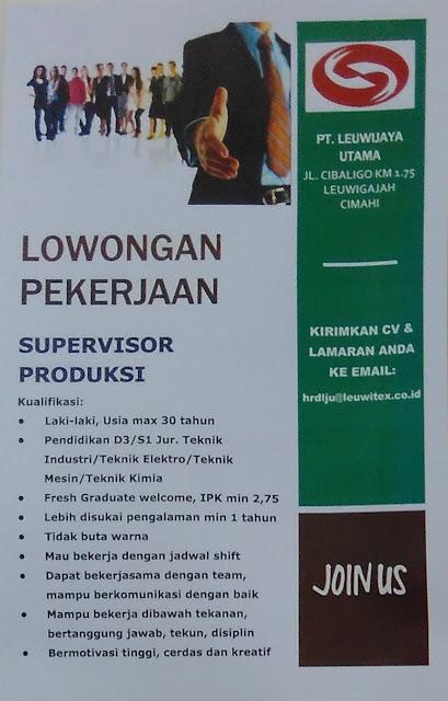 Lowongan Supervisor Produksi PT. Leuwijaya Utama