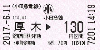小田急厚木駅乗車券