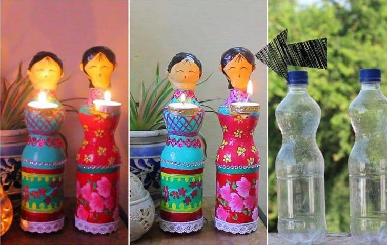 How to make doll diya using plastic bottles crazzy craft for Craft using waste bottles