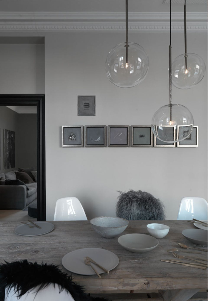 Trio glass pendants add wow factor in dining room- design addict mom