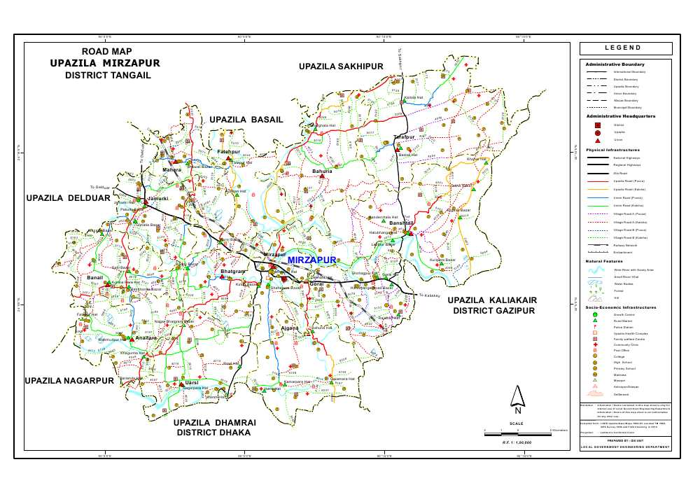 Mirzapur Upazila Road Map Tangail District Bangladesh