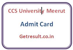 CCS University Meerut Admit Card