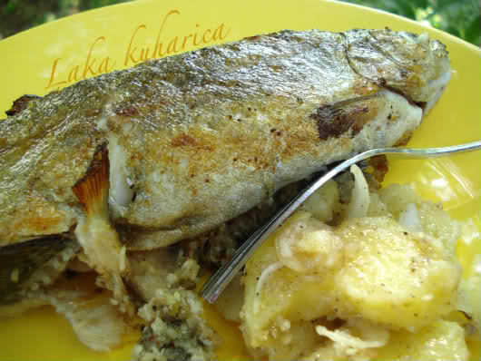 Stuffed trout by Laka kuharica: savory stuffing enhances flavor of the fresh trout.