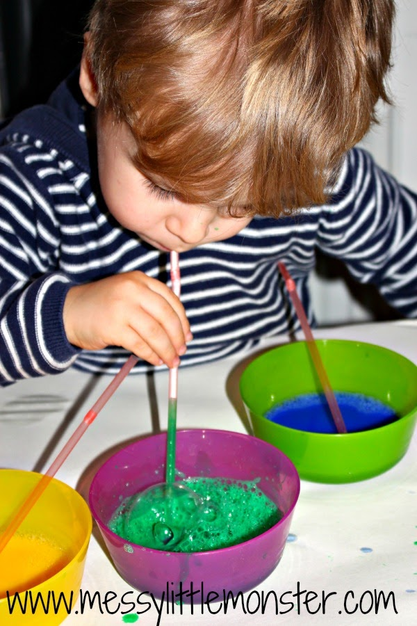 How to make bubble paintings.  Simple art ideas for kids.