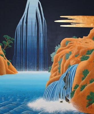 montagnes, cascades, culture edo, hokusai, carpes, japon, estampe, peinture, acrylique, tempera