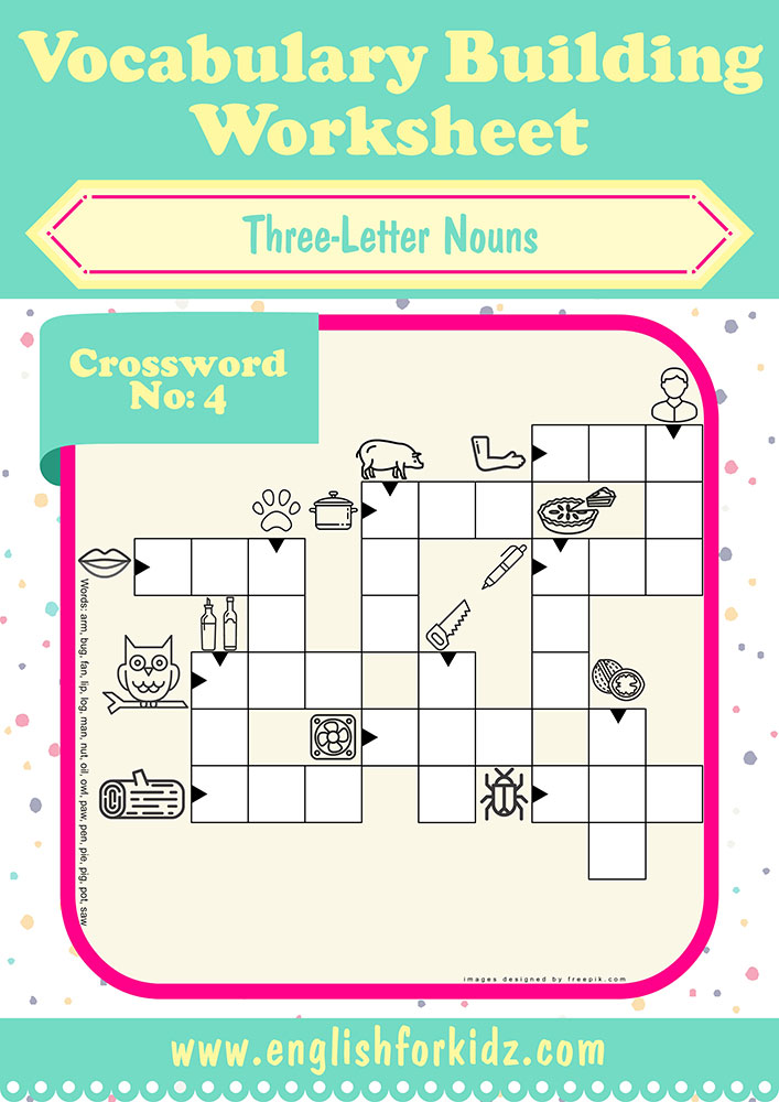 Vocabulary Building Worksheets: Three-Letter Noun Crosswords on english worksheets for teachers, esl for beginners, animals for beginners, vocabulary for beginners, writing for beginners, game for beginners, criss cross for beginners, english worksheets for adults, coloring pages for beginners, english worksheets for intermediate,