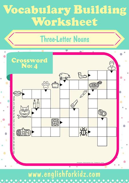 ESL crossword puzzle worksheet to learn basic English vocabulary