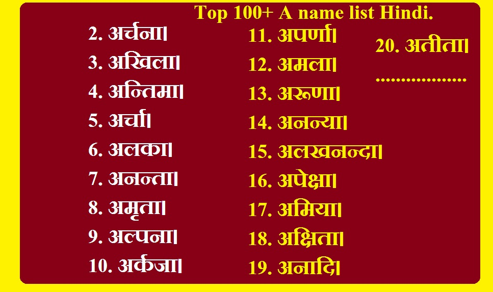 top 100 a name list hindi girl names starting with a