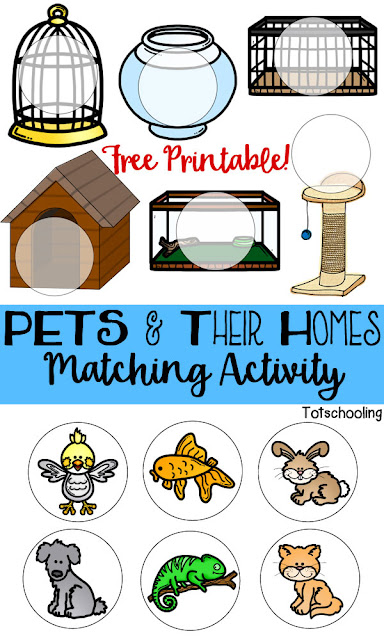 FREE printable game for toddlers and preschoolers to match pets with their cages or homes. Great for language development and learning about animals.