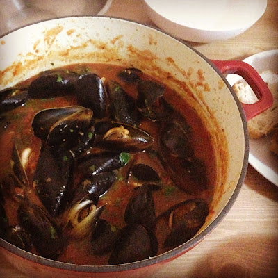 chilli mussels in a rich tomato sauce by salt sugar and i