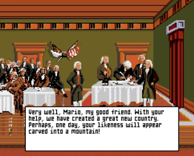 Mario's Time Machine SNES version Founding Fathers Thomas Jefferson