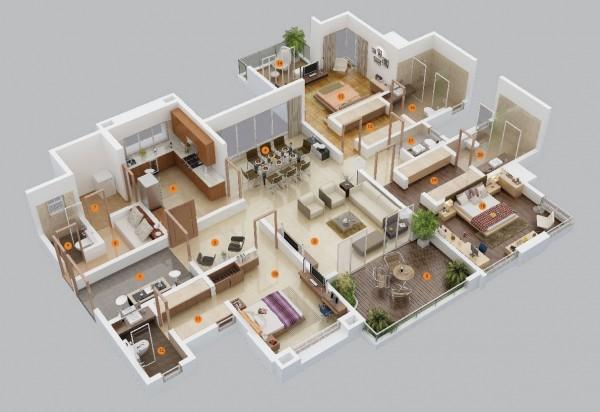 Denah 3D Rumah 3 Kamar Tidur. & 70+ Desain 3D Rumah 3 Kamar Tidur Terbaru 2018 - Rumahku Unik