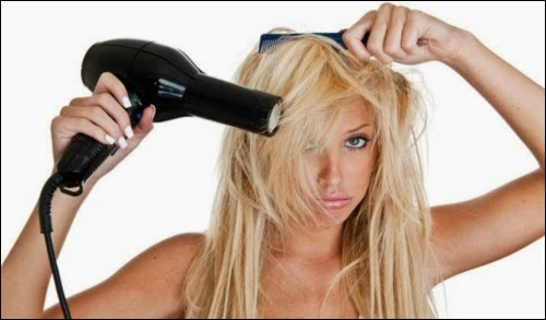 Blow drying hair