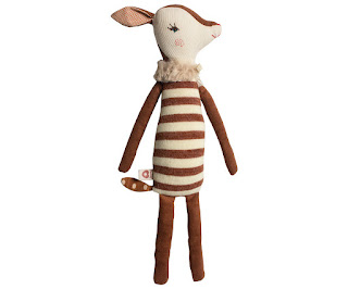baby deer doll stuffed animal brown beige bambi baby girl nursery plush stripes