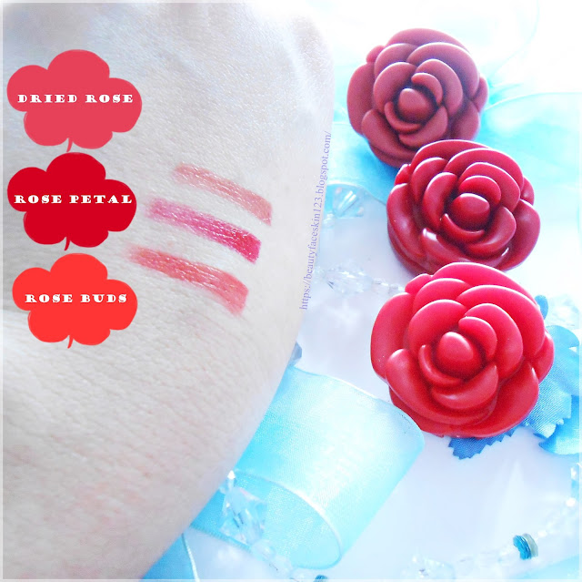 The Yeon Rosy Lips in rose petal, rose buds and dried rose
