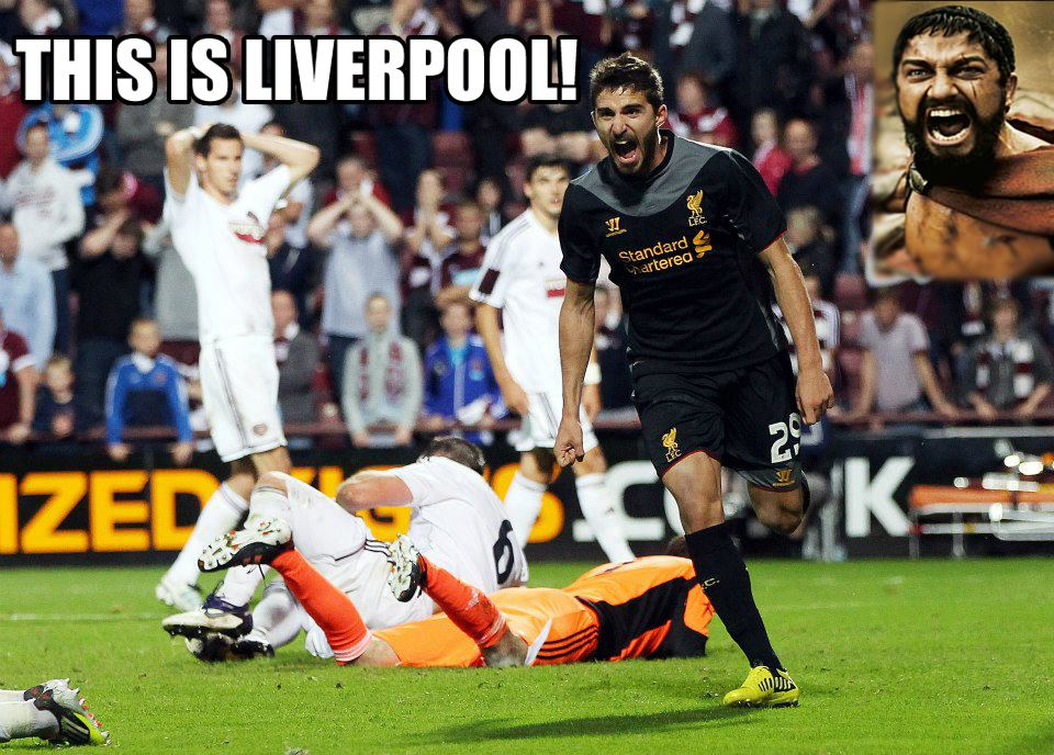 soccer memes funny liverpool liverpoool hearts europa league football uefa goal webster borini fabio celebrates andrew round play own scored